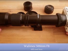 使用老款奥林巴斯E-PL5和Walimex 500mm/F8镜头及2x增距镜拍摄月亮