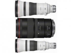 佳能RF 100mm F2.8 L MACRO IS USM、RF 400mm F2.8 L IS USM、RF 600mm F4 L IS USM镜头外观照曝光