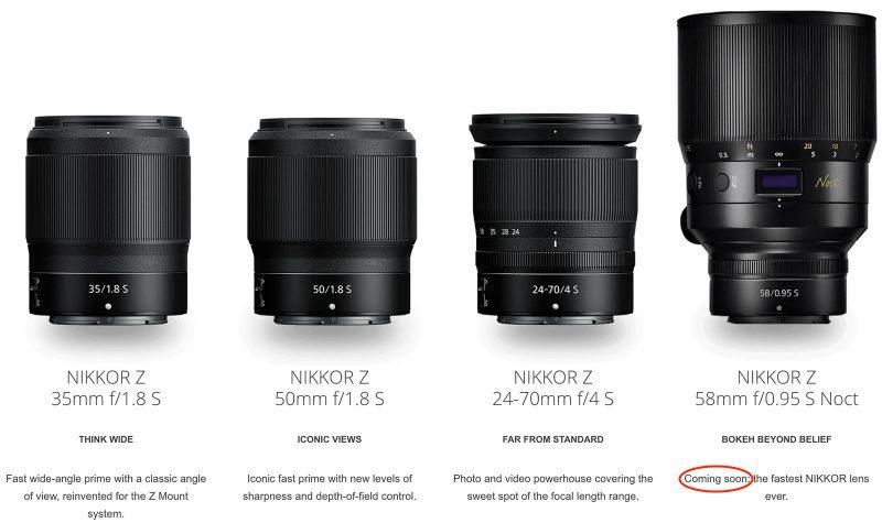 尼康美国官网公布尼康Z 58mm f/0.95超大光圈镜头即将推出