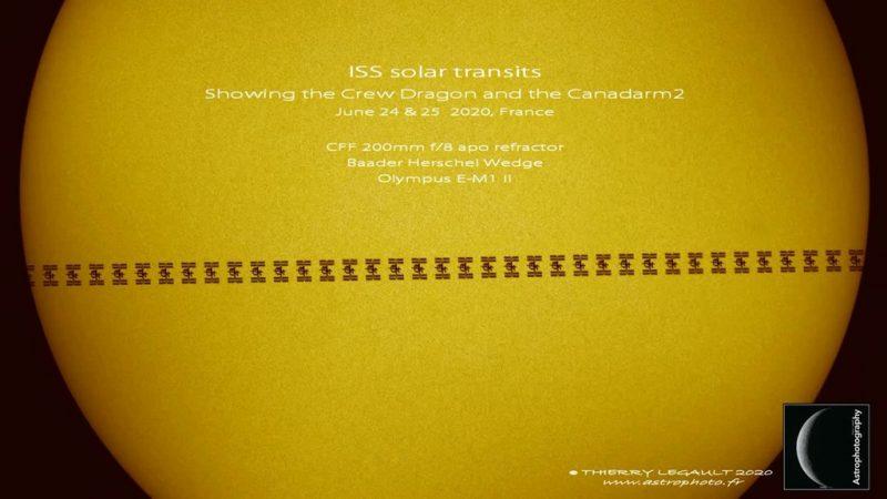摄影师首次在国际空间站的太阳凌日现象中拍摄到Canadarm2